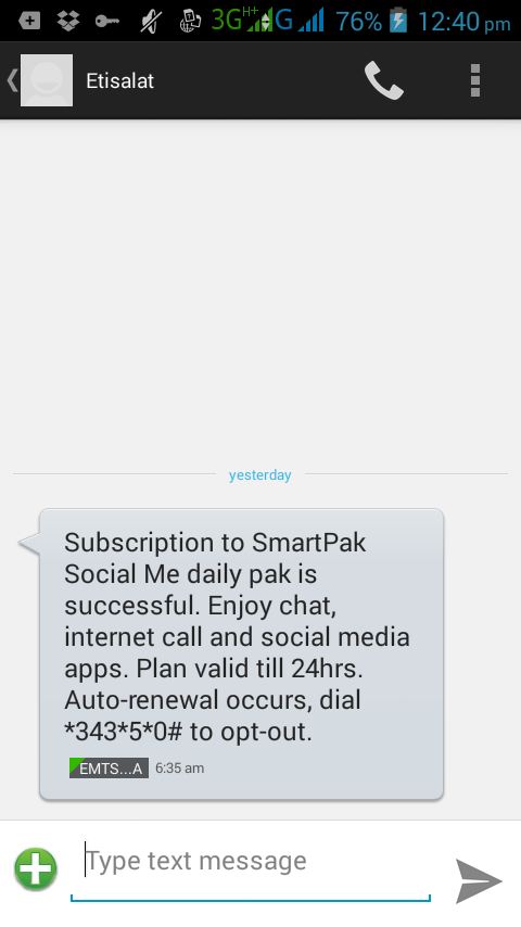 Etisalat Chat Pack Unlimited setup with Psiphon Handler To